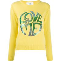 Alberta Ferretti Long Sleeve Sequin-Embellished Logo Pullover - Amarelo