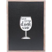 Quadro Decorativo Drink Preto E Branco 1,5X40X30