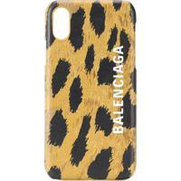 Balenciaga Capa Para Iphone Xs Cash Com Estampa De Leopardo - Marrom
