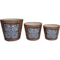 Jogo De Cachepots Mandala- Marrom Claro & Azul Clarobtc Decor