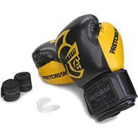 Kit Luva De Boxe/Muay Thai Pretorian Black 14 Oz + Bandagem + Protetor Bucal - Unissex