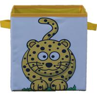 Caixa Organizadora De Brinquedos Organibox Leopardo Branca/Amarela