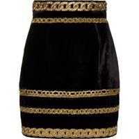 Balmain Embroidered-Chain Velvet Mini Skirt - Preto