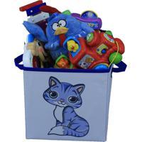 Caixa Organizadora De Brinquedos Organibox Gatinha Branco/Azul