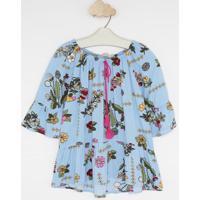 Blusa Ciganinha Floral- Azul Claro & Rosa- Pequena Mpequena Mania