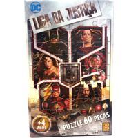Quebra-Cabeça - Liga Da Justiça - O Filme - 60 Peças - Grow - Unissex-Incolor