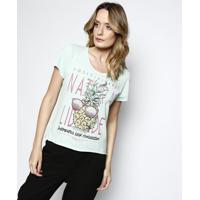 Camiseta Texturizada ''Positividade'' - Verde Claro & Rococa-Cola