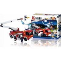 Blocos De Montar Caminhão De Bombeiro Com Plataforma + Helicóptero 394 Peças Indicados Para +6 Anos Material Plástico Colorido Multikids - Br824 Br824