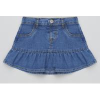 Saia Jeans Infantil Com Babado Azul Escuro