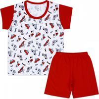 Pijama Kids 2 Peças Carros Vermelho Amigo Do Sono
