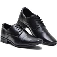 Sapato Social Couro Liso Bico Quadrado Cadarço Masculino - Masculino-Preto
