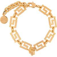 Versace Pulseira Greca Com Corrente - Dourado