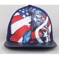 Boné Infantil Aba Reta Capitão América Azul Marinho
