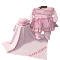 Saída De Maternidade Letícia Enxovais Sonho Meu Helena Plush Rosa - Tricae