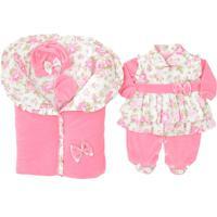 Saída De Maternidade Gente Pequenina - Pequena Babi - 5 Peças - Rosa - Plush
