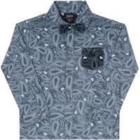 Camisa Abstrata Com Bolso & Gravata- Azul & Azul Escurolilica Ripilica E Tigor T. Tigre