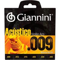 Encordoamento Para Violão Geswal Acústico Aço 0.09 Giannini
