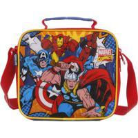 Lancheira Infantil - 20Cm - Disney - Marvel - Vingadores - Azul E Vermelho - Dmw