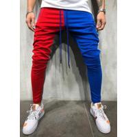 Calça Masculina Moletom Max Slim Duas Cores - Azul E Vermelho