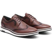 Sapato Oxford Couro Sun West Cadarço Masculino - Masculino-Marrom