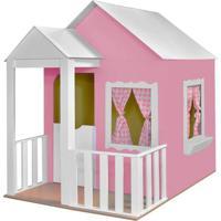 Casinha Criança Feliz De Brinquedo Com Cercado Rosa/Branco