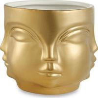 Cachepot Faces Com Detalhes- Dourado & Branco- 10Xø1Mart