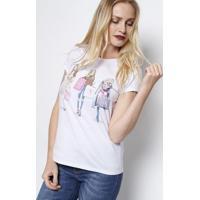"""Blusa """"Sweet Shopping""""- Branca & Rosaclub Polo Collection"""