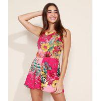 Macaquinho Short Saia Feminino Estampado Floral Com Sobreposição Alça Fina Rosa Escuro
