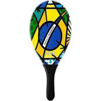 Raquete De Frescobol Evo Fibra De Vidro Brasil 2 - Unissex-Amarelo