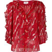 Ba&Sh Blusa Franzida Com Estampa De Leopardo - Vermelho