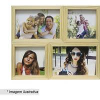 Painel Cerejeira Para 4 Fotos- Bege- 24X29X6Cm- Kapos