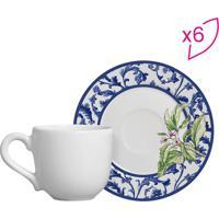 Conjunto De Xícaras De Café Floral- Branco & Azul- 6Scalla Cerâmica