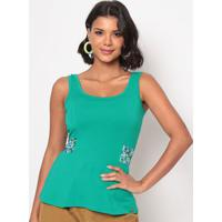 Blusa Com Amarração & Recortes - Verde & Azul Escurothipton