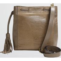 Bolsa Couro Bucket Croco Mariart (Caqui, Único)