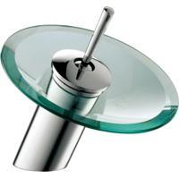 Misturador Monocomando Para Banheiro Redondo Vidro Bica Baixa 81519 - Jiwi - Jiwi
