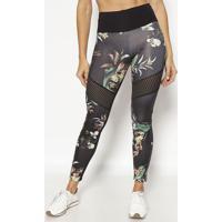 Legging Com Recortes Vazados- Preta & Verdephysical Fitness