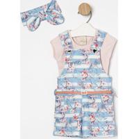 Conjunto De Jardineira + Blusa & Faixa De Cabelo - Azul Time Kids