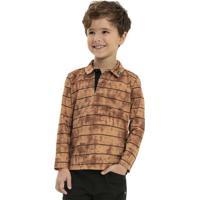 Camisa Infantil Polo Manga Longa Marrom