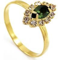 Anel Horus Import Gota Verde Esmeralda Cravejado Com Cristais