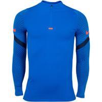 Camiseta Manga Longa Nike Dril Top Strik - Azul/Azul Esc