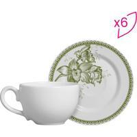 Conjunto De Xícaras De Chá Floral- Branco & Verde- 6Scalla Cerâmica