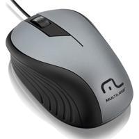 Mouse Óptico Emborrachado Usb 1200Dpi Cinza Mo225 Multiaser