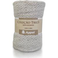Manta Appel Tricô Decorativa P/ Cama E Sofá - Caqui Cru