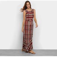 Vestido Top Moda Longo Estampado - Feminino-Vinho