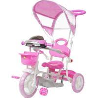 Triciclo Infantil Passeio Com Empurrador 2 Em 1 Motoca Bw003 - Unissex-Rosa