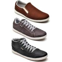 Kit 3 Pares Tênis Casual Mac Point Masculino - Masculino-Marrom