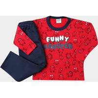 Conjunto Infantil Rovitex Longo Moletom Funny Monster Masculino - Masculino-Vermelho