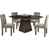 Conjunto De Mesa Pietra 0.90M Com Vidro Serigrafado Preto Com 4 Cadeiras Essence Chocolate Tecido Veludo Pena Bege Lj Móveis