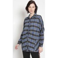 Camisa Xadrez Com Bolsos- Cinza Escuro & Azul- Cottocotton Colors Extra