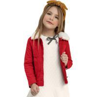 Jaqueta Infantil Em Sarja E Pelo Vermelho